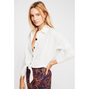 FREE PEOPLE NWT Sunstreaks tie front top in white